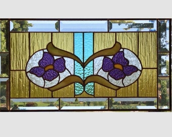 Bevel stained glass panel window Art Nouveau purple flower stained glass window panel stained glass flower suncatcher 0142 21 1/4 x 11 1/4
