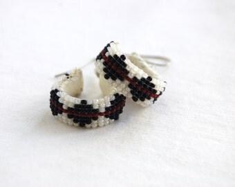 Beaded Hoop Earrings Southwest Seed Beads Vintage Diamond Dangle Hoops Black and White Bead Jewelry