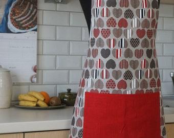 Linen Apron with Hearts, Ready to Ship Kitchen Apron, Apron with Red Pocket, Linen Pinafore, Valentine's Day Gift to Her, gift for a loved