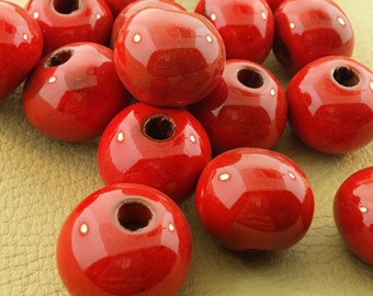 Large Red Ceramic Beads
