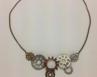 Mad Max Necklace, burning man jewelry, burner necklace, gears and wheels necklace
