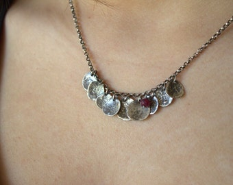 Ruby Fine Silver Necklace, July Birthstone Necklace, Oxidized Sterling Silver Chain Necklace, PMC Fine Silver Jewelry Necklace, Gift For Her