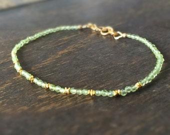 Peridot Bracelet - Green Gemstone Jewellery - Gold Jewelry - August Birthstone - Dainty