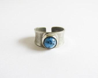 Vintage Jorgen Jensen Ring / Modernist Rings / Jensen Pewter Ring / Pewter / Turquoise / Made in Denmark