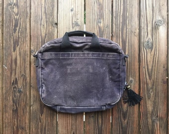 Vintage Distressed Purple Canvas Computer Bag with Black Leather Tassle Zipper