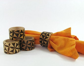 Wood Napkin Rings - Creative Pyrography - Geometric Design
