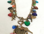 Vintage Glass Works Studio Elaborate Hearts and Charms Necklace