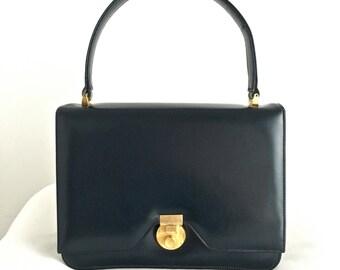 Vintage Palizzio Navy Leather Handbag, Kelly Bag, Top Handle Bag