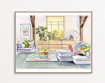 8x10 Giclee Fine Art Print, Girl Reading in Living Room