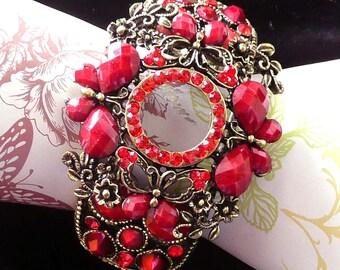 Red Rhinestone Jeweled Cuff Bracelet Spectacular Retro Julliana Style Wide