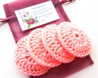 Peach Nylon Dish Scrubbies - Set of 2 through 8 - Crochet Pot Scrubber