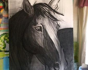 HUGE Black & White Horse Original Charcoal Sketch