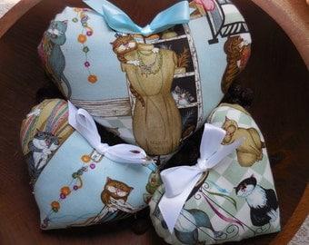 Primitive Heart Set Bowl Filler Tucks Mischievous CATS Whimsical Home Decor