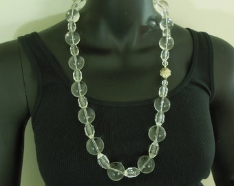 1970s Clear Lucite Beaded Necklace 30.5 Inches Modernist Runway Statement