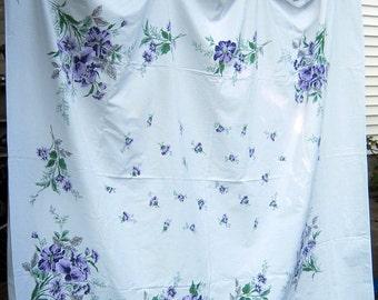 Vintage PURPLE FLORAL TABLECLOTH Flower Bouquet Table Linens Daisy Iris Daisies