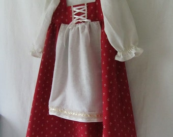 Girl's Renaissance, Medieval, Red Riding Hood Dirndl: All Cotton & Linen With Lace And Ribbon - Size 2 To 3 Years Old - Ready To Ship Now
