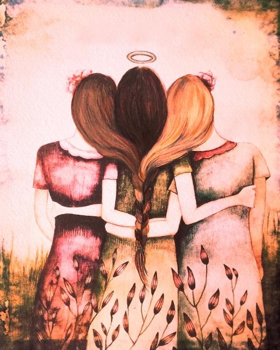 Our Angel three sisters  best friend pink vintage  art print