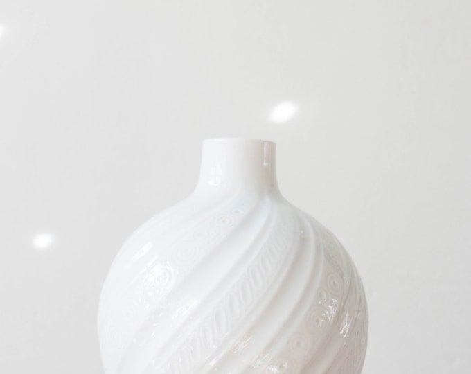 Mid Century Modern Glazed White Porcelain Vase AK Kaiser West Germany // Bohemian Home Decor