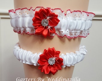 White & Red Wedding Garter Set/   Red White Lace Bridal Garter Set/  Wedding Garter Belt