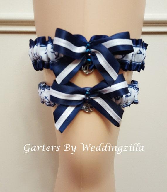 Plus Size Wedding Garters: Plus Size Nautical Wedding Garter Set / US Navy Wedding