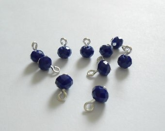 Navy Blue Opaque Faceted Rondelle Glass Dangle Beads