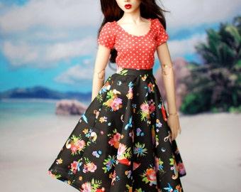 Feeple 60 Delf Black Tropical Bird Skirt For SD BJD