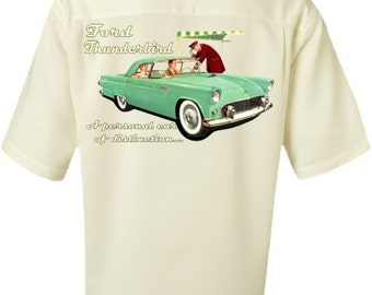 Men's Car Shirt-FORD THUNDERBIRD-Vintage look- Classic Car Shirt ,vintage car,car gift,men's gift,casual shirt for men, gift for dad