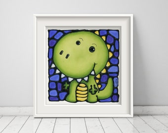 Dinosaur Print - Kids Room Decor - Baby Boy Art - Dino Print - Nursery Art Print - Wall Art - Boy Room Art - Baby Room - 8 x 10 inch