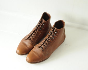 Vintage White Mountain Brown Leather Ankle Boots, Womens 9