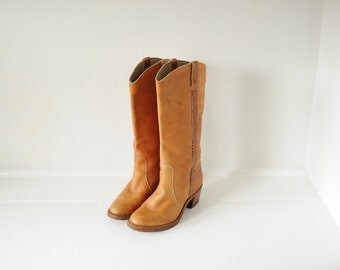 Vintage Town & Country Brown Leather Campus Boots, Womens 8