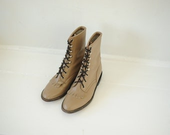 Vintage Cowtown Taupe Leather Roper Boots, Womens 6 - 6 1/2