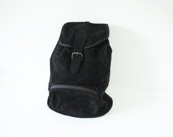 Vintage 80s Black Suede Leather Backpack by ECT