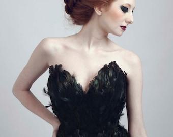 Black Swan Ballerina Feather Corset
