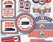 Train Birthday Party Decorations - Vintage Train Party - Boy Birthday Party Packages - Train Printable Party - Red/Navy Blue/Cream