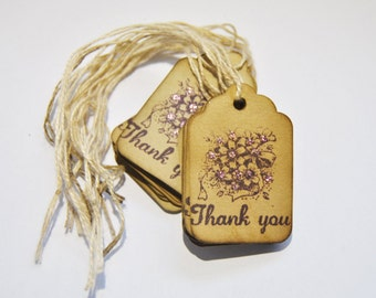 Thank You Flower bouquet Coffee stained vintage inspired favor gift tags. wishing tree card. primitive. rustic. wedding. scrapbooking