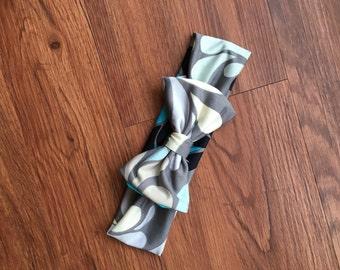 Grey Drops Stretch Bow Headband