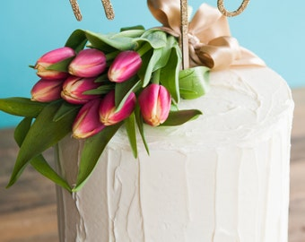 Birthday, Anniversary or wedding cake topper | Gold glitter HOORAY | wood cake topper