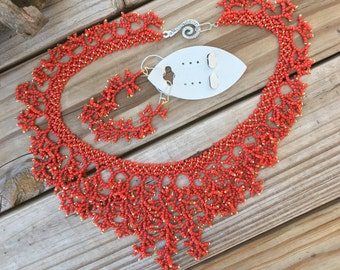Hand Woven Coral Reef Necklace with matching earrings