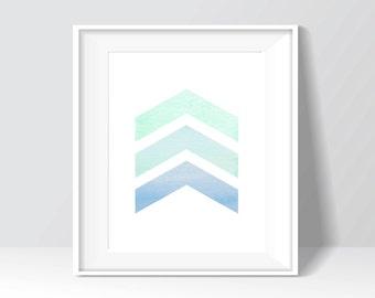 Blue Modern Triangles Chevron Watercolor Digital Print, Wall Art