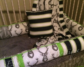 Navy, Lime, Green, Gray and White Deer Bedding Set