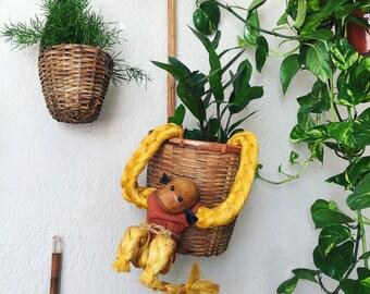 Vintage Mid Century Rope Monkey Hanging Doll Figure
