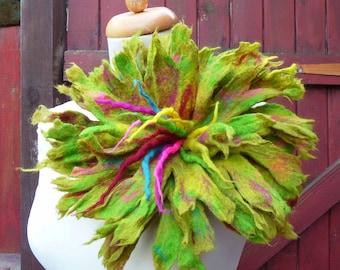felted flower corsage pin brooch, handmade, xxl, felt flowers, lagenlook, shawl, green, lichen, goosberry, large, MADE TO ORDER