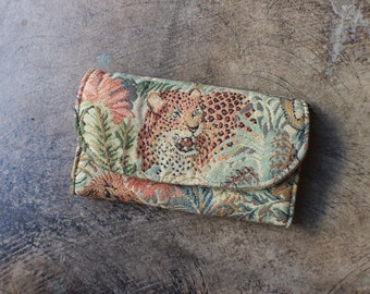 Cheetah Wallet / Fabric and Leather Jungle Coin Purse / Vintage Accessory