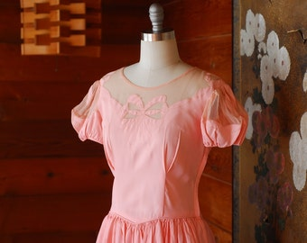 vintage 1940s pink bow gown / 40s dress / size small