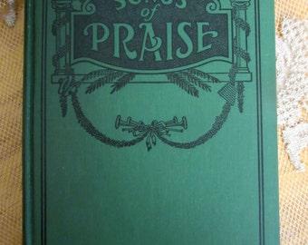 1935 Songs of Praise Vintage Hymnal Green Black book decor Antique sheet music Christian song book Worship music Christmas Table Decor