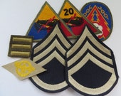 US Army Rank and Patch Lot, SSG Rank, 20th Armored, Armored and More
