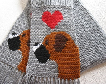 Gray Boxer scarf. Grey crochet scarf with boxer dogs and red hearts. Knitted boxer scarf. Tapestry crochet boxer dog gift