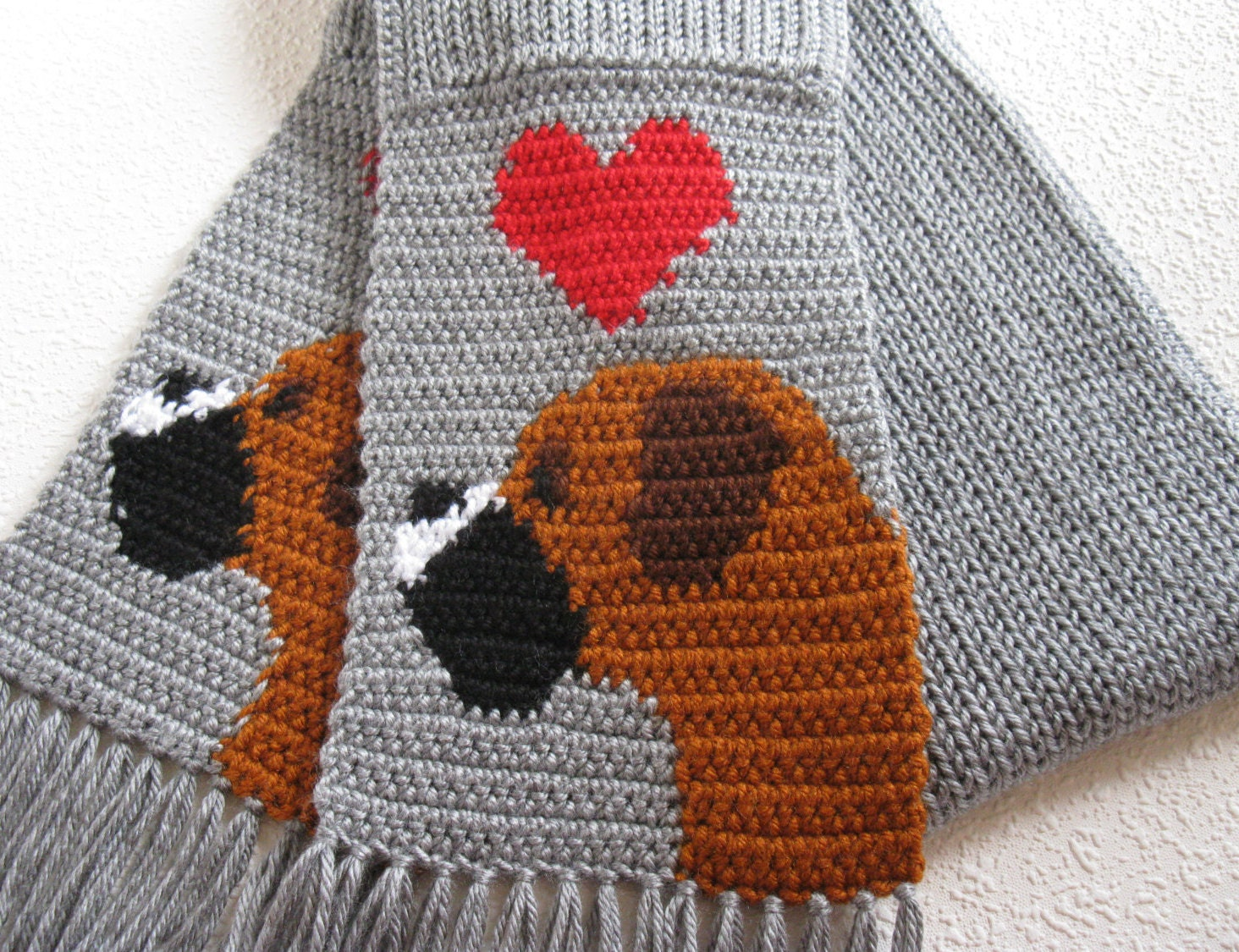 Gray Boxer scarf. Grey crochet scarf with boxer dogs and red