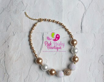 White and Gold Chunky Necklace, White and Gold Baby Necklace, White and Gold Necklace, Bubble Baby Necklace,  Baby Girls Jewelry, Bubble