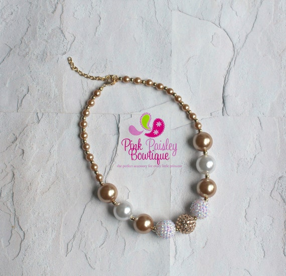 white and gold chunky necklace white and gold baby necklace
